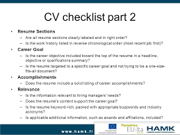 Resume Checklist Career Planning Work Search Ppt Video Online Download