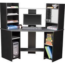 Black Corner Computer Desk With Hutch Corner Computer Desk Black And Gray Walmart