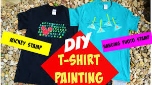 diy t shirt painting at home tutorial using easy stamping and