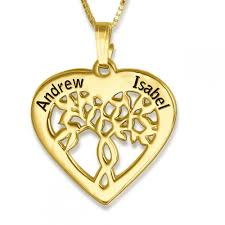 Name Necklace Gold Couples Name Necklace Tree Of Life 24k Gold Plated Namefactory