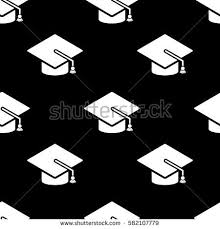 graduation cap icon seamless pattern tiling stock illustration