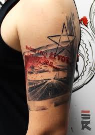 100 tattoo style trash polka trash skull blood splatter
