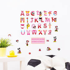 online get cheap wall stickers kids room mickey mouse aliexpress mickey mouse minnie english letters pvc wall sticker decals nursery room decor cartoon kids