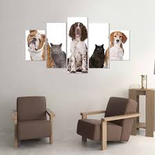 dog wall art cats dogs frontal 5 piece canvas wall art vigor and whim