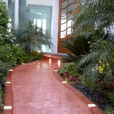 garden brick walkway for simple exterior decorating ideas with