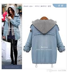 jean sweater jacket fashion autumn winter two hooded vest casual