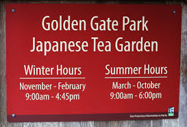 file golden gate park japanese tea garden sign with opening hours