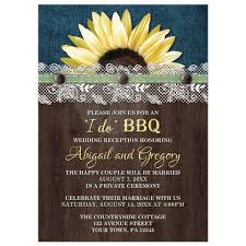 wedding reception only invitations only invitations sunflower denim wood lace i do bbq