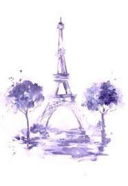 drawn eiffel tower watercolor painting pencil and in color drawn