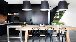Contemporary Style Kitchen Cabinets Light Wood Cladding Minimalist Kitchen Modern Style Island Black