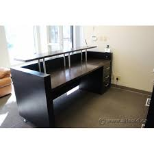 Espresso Reception Desk Espresso And Black Reception Desk Suite With Transaction Counter