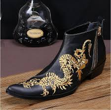2016 new fashion genuine leather dragon embroidered ankle boots