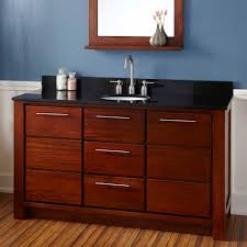 Mahogany Bathroom Vanity by 60 Venica Teak Vessel Sink Vanity With Makeup Area Gray Wash