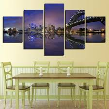 home decor sydney unframed modern home decor canvas living room 5 panel sydney harbour