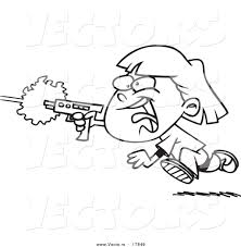 vector of a cartoon shooting a gun and playing laser tag