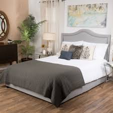 james grey upholstered studded fabric queen size bed set enjoy