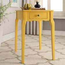 Yellow Accent Table Amazon Com Inspire Q Daniella 1 Drawer Wood Storage Accent