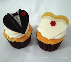 bridal cupcakes and groom cupcake toppers