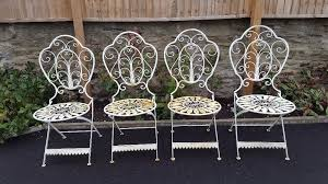 shabby chic garden furniture patio set bistro metal table and