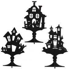 raz imports glittered halloween house silhouette on stand palm