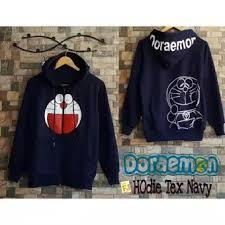 Baju Original baju original doraemon hodie text navy sweater wanita fleece
