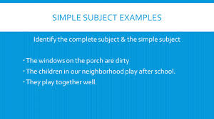 Worksheets On Subjects And Predicates Simple Subject Example Boxfirepress