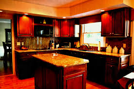 Kitchen Design Shows Kitchen L Shaped Brown Wooden Cherry Cabinet With Island