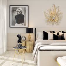 Marilyn Monroe Bedroom by A Modern Art Deco Home Visualized In Two Styles