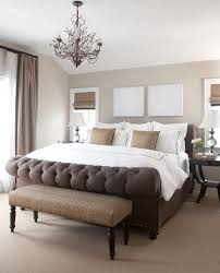 dark elegant brown bed with soft beige wall colors in small