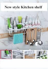 40cm 2 cups kitchen shelf with 6hooks kitchen storage rack spice