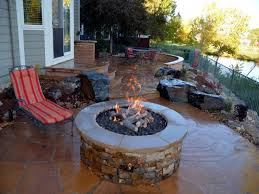 Outdoor Ideas Patio Plans Classic Half Moon Stone Firepit With Gas Starter