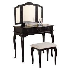 Vanity Table L Poundex Bobkona Susana Mirror Vanity Table With Stool Set In Black