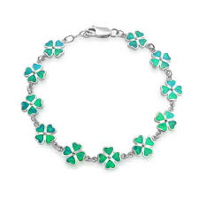 green opal sterling silver green opal inlay celtic jewelry clover bracelet