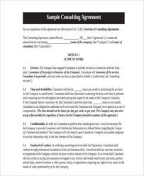 consulting agreement form samples 8 free documents in word
