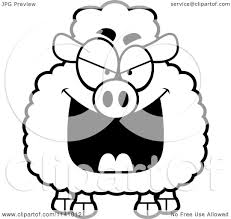 cartoon clipart of a black and white sly sheep vector outlined