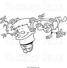 pal clipart of a black and white boy and a monkey hanging from a