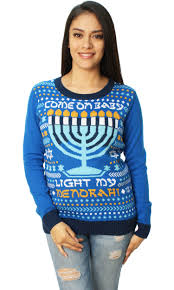 ugly christmas sweater womens come on baby light my menorah led