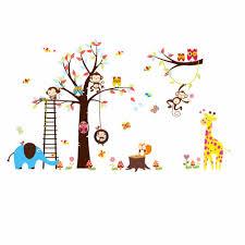 online get cheap vinyl tree wall decal aliexpress com alibaba group happy monkey owl tree wall decals diy cartoon vinyl baby room kids bedroom wall home decor