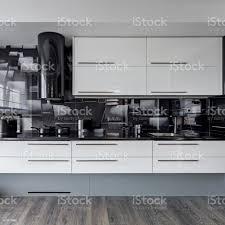black walls white kitchen cabinets black and white kitchen stock photo image now