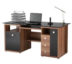 Glass Computer Desk With Drawers Furniture Beauteous Image Of Home Office Decoration Using