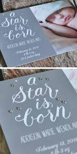 themed birth announcement embellished with rhinestones