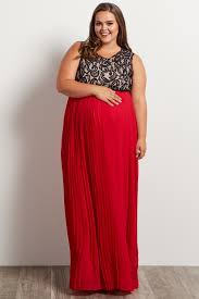 red pleated chiffon lace top plus size maxi dress