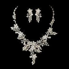 bridal jewelry glamorous pearl rhinestone floral bridal jewelry sets