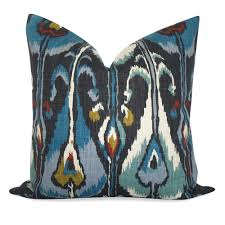 Robert Allen Home Decor Fabric Robert Allen Ikat Bands Pillow Cover In Indigo Same Fabric