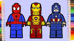 lego spiderman and lego iron man u0026 lego captain america coloring