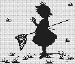 silhouette with butterflies cross stitch kit by luca s