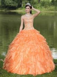 trendy orange ruffles dresses for quinceaneras beaded lace up back