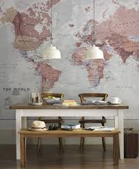 vintage world map wall mural for home office decoration with small world map wall mural pendant lamps above square