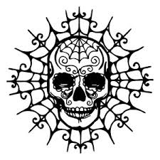 silhouette design store skull on spider web svg fall