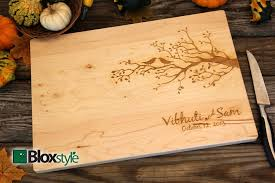 personalized kitchen items personalized engraved cutting board with birds tree design
